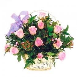 Cesta de Flores Mix Colores y Flores + Globo de Cumpleaños