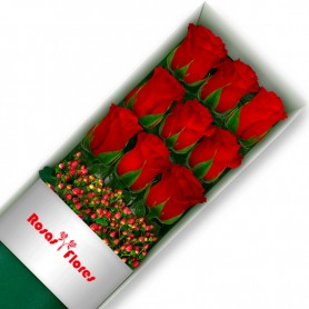 Caja de Rosas Rojas 9 Rosas