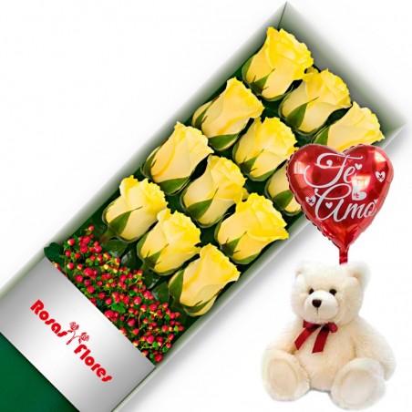Caja de Rosas Rojas 6 Rosas + Globo y Peluche