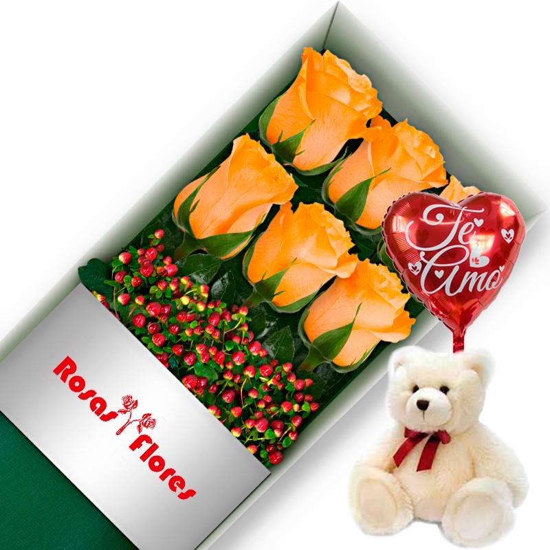 Caja de Rosas Rojas 12 Rosas + Globo y Peluche