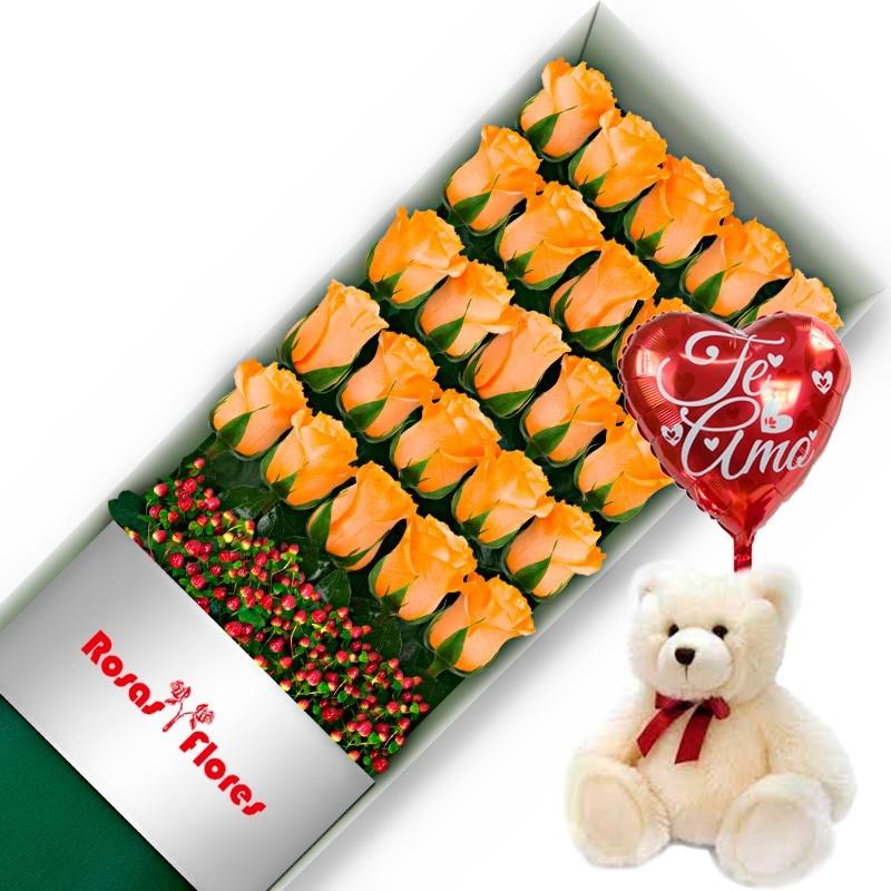 Caja de Rosas Rojas 24 Rosas + Globo y Peluche