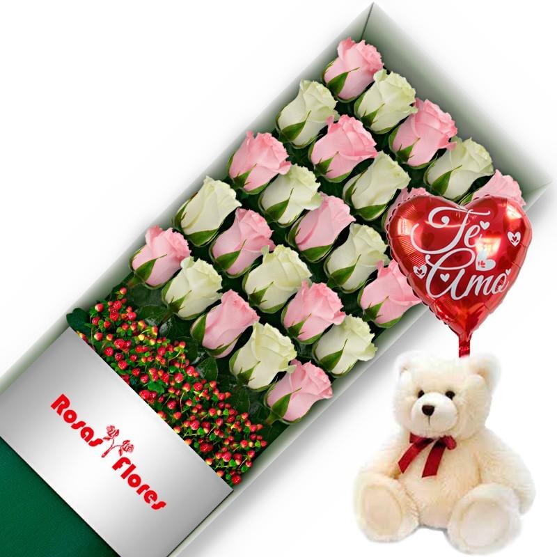 Caja de Rosas Rosadas 6 Rosas + Globo y Peluche