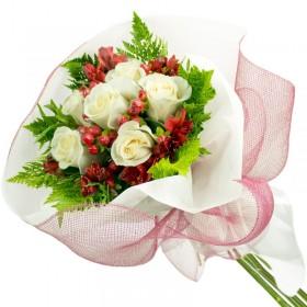 Caja de Rosas Rosadas 12 Rosas + Globo y Peluche