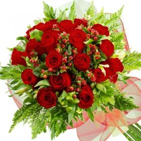 Caja de Rosas Damasco 6 Rosas + Globo y Peluche