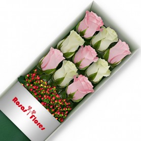Caja de Rosas Color Mix Rosado Blanco 9 Rosas
