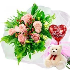 Caja de Rosas Color Mix Rojas Blancas 3 Rosas