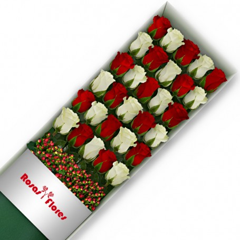 Caja de Rosas Color Mix Rojas Blancas 30 Rosas